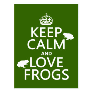 Guarde la calma y ame las ranas (cualquier color tarjetas postales