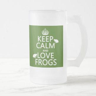 Guarde la calma y ame las ranas (cualquier color taza cristal mate