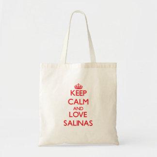 Guarde la calma y ame las salinas bolsa de mano