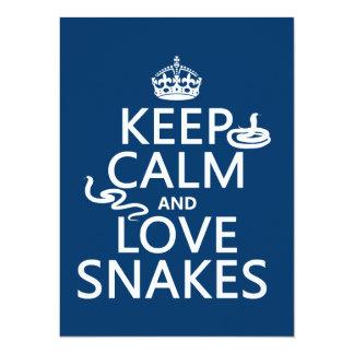 """Guarde la calma y ame las serpientes (todos los invitación 5.5"""" x 7.5"""""""