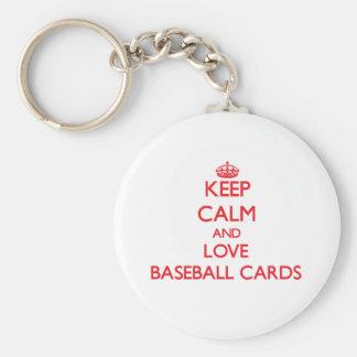 Guarde la calma y ame las tarjetas de béisbol llavero personalizado