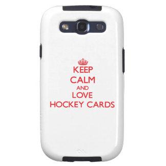 Guarde la calma y ame las tarjetas del hockey galaxy s3 carcasa