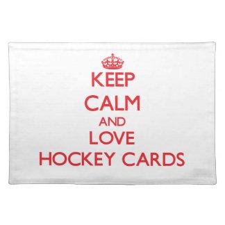 Guarde la calma y ame las tarjetas del hockey mantel individual
