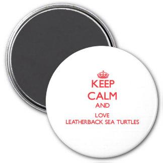 Guarde la calma y ame las tortugas de mar del Leat Imán Para Frigorífico