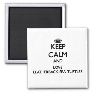 Guarde la calma y ame las tortugas de mar del Leat Iman Para Frigorífico