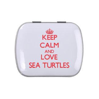 Guarde la calma y ame las tortugas de mar jarrones de dulces