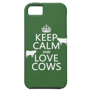 Guarde la calma y ame las vacas todos los colores iPhone 5 protectores