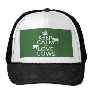 Guarde la calma y ame las vacas todos los colores gorros bordados