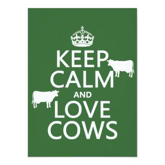 """Guarde la calma y ame las vacas (todos los invitación 5.5"""" x 7.5"""""""