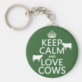 Guarde la calma y ame las vacas (todos los llavero redondo tipo pin