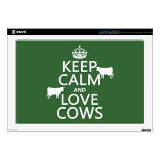 Guarde la calma y ame las vacas (todos los portátil 43,2cm skin
