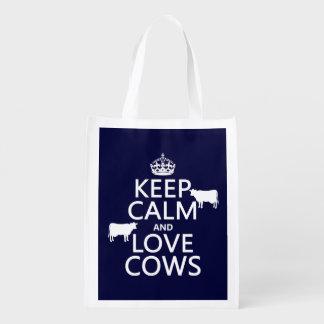 Guarde la calma y ame las vacas (todos los bolsas para la compra