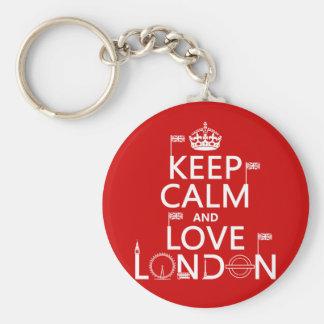 Guarde la calma y ame Londres (cualquier color de  Llavero Redondo Tipo Pin