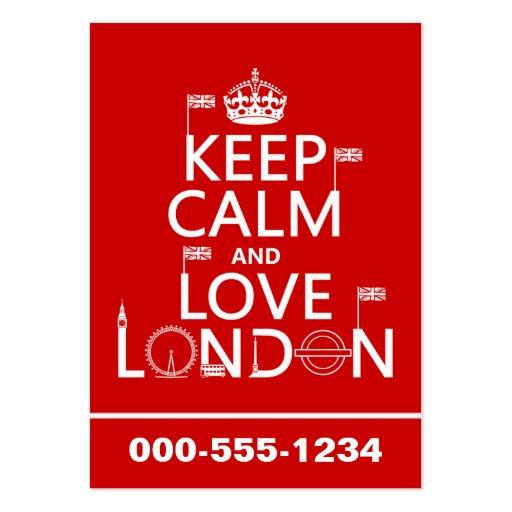 Guarde la calma y ame Londres (cualquier color de  Plantilla De Tarjeta Personal