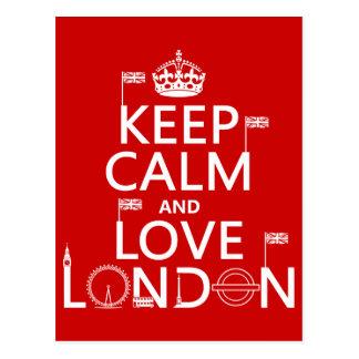 Guarde la calma y ame Londres (cualquier color de  Tarjetas Postales