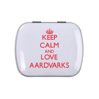 Guarde la calma y ame los Aardvarks Latas De Caramelos