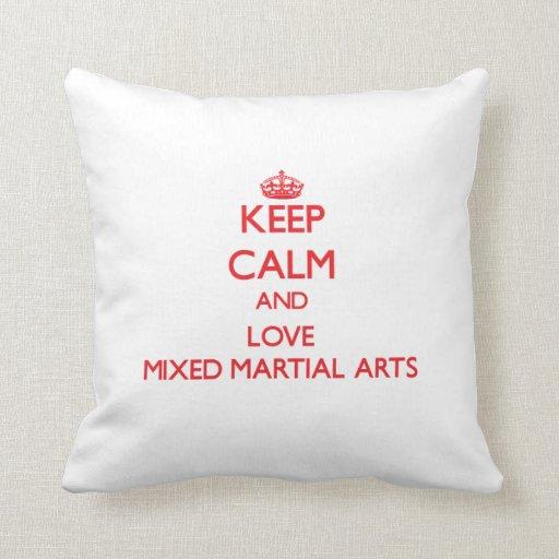 Guarde la calma y ame los artes marciales mezclado cojin