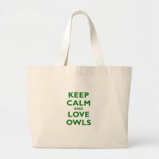 Guarde la calma y ame los búhos bolsa de mano