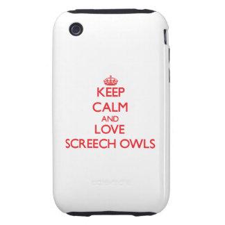 Guarde la calma y ame los búhos de chillido tough iPhone 3 carcasas