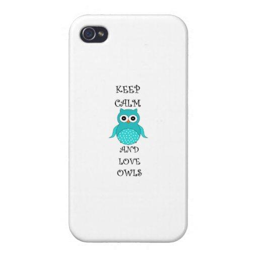 Guarde la calma y ame los búhos iPhone 4 carcasas