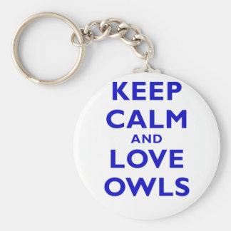 Guarde la calma y ame los búhos llaveros personalizados
