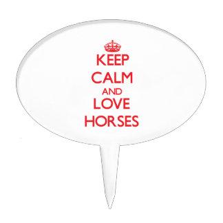 Guarde la calma y ame los caballos figura para tarta