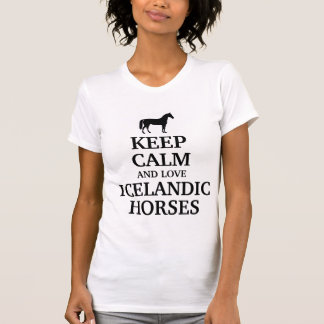 Guarde la calma y ame los caballos islandeses tshirts