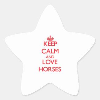 Guarde la calma y ame los caballos pegatina forma de estrella personalizadas