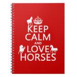 Guarde la calma y ame los caballos - todos los col libros de apuntes