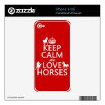 Guarde la calma y ame los caballos - todos los col iPhone 4S calcomanía