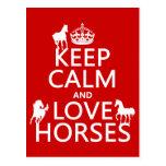 Guarde la calma y ame los caballos - todos los col postal
