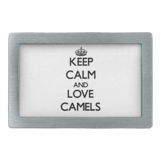 Guarde la calma y ame los camellos hebilla cinturon rectangular