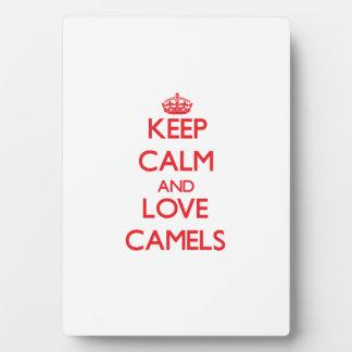 Guarde la calma y ame los camellos placa para mostrar