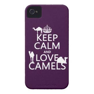 Guarde la calma y ame los camellos todos los colo iPhone 4 Case-Mate fundas