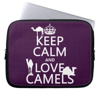 Guarde la calma y ame los camellos todos los colo mangas portátiles