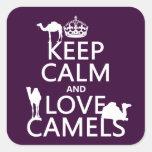 Guarde la calma y ame los camellos (todos los colo calcomanías cuadradass