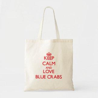 Guarde la calma y ame los cangrejos azules bolsa tela barata