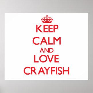 Guarde la calma y ame los cangrejos impresiones