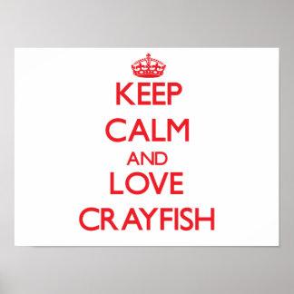 Guarde la calma y ame los cangrejos posters