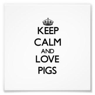 Guarde la calma y ame los cerdos cojinete