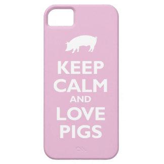 Guarde la calma y ame los cerdos (rosas claros) iPhone 5 carcasas