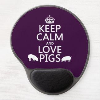 Guarde la calma y ame los cerdos todos los colore alfombrillas de ratón con gel
