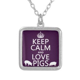 Guarde la calma y ame los cerdos todos los colore grímpola