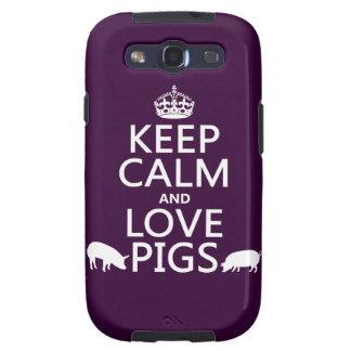 Guarde la calma y ame los cerdos (todos los colore galaxy SIII protector