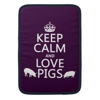 Guarde la calma y ame los cerdos todos los colore funda para macbook air