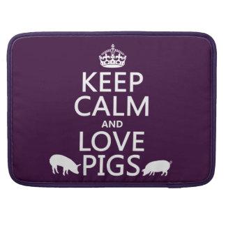 Guarde la calma y ame los cerdos todos los colore fundas para macbooks