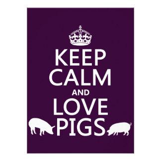 Guarde la calma y ame los cerdos todos los colore comunicados personales