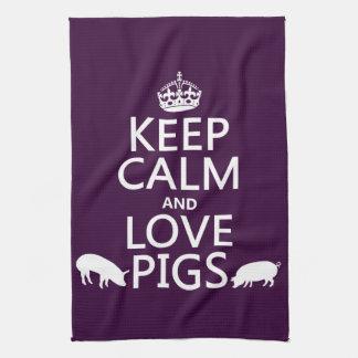 Guarde la calma y ame los cerdos (todos los colore toallas