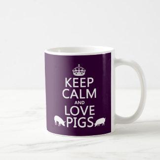 Guarde la calma y ame los cerdos todos los colore tazas