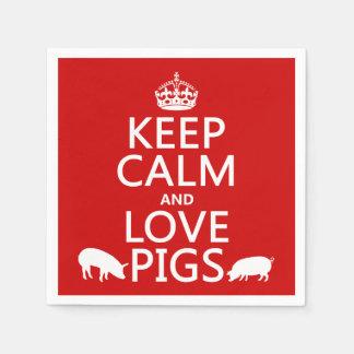 Guarde la calma y ame los cerdos (todos los servilleta desechable